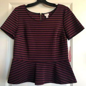 NWT Merona Striped Peplum Blouse Size M